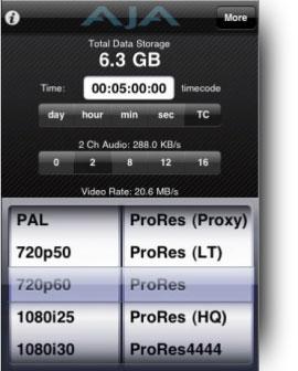AJA DataCalc App screenshot